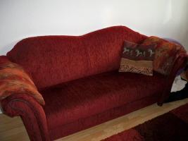Foto 3 Schöne & gr. Sofagarnitur im roten Kolonialstil!Günstig & sehr gut erhalten!