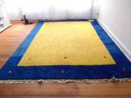 Schöner großer Gabbeh, 2,50 x 3,60 m, gelb/blau