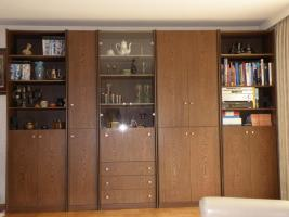 Schrankwand, Wenge, 350 x 230 x 44, 5-teilig, linkes Teil auch komplett als Regal aufbaubar