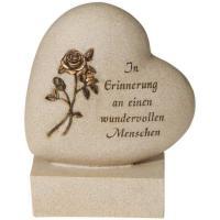Foto 2 Schriftrolle Grabdekoration, Grabbuch mit Inschrift, Grabherz auf Sockel
