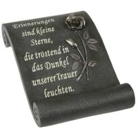 Foto 7 Schriftrolle Grabdekoration, Grabbuch mit Inschrift, Grabherz auf Sockel