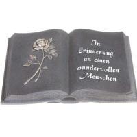 Foto 9 Schriftrolle Grabdekoration, Grabbuch mit Inschrift, Grabherz auf Sockel