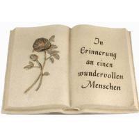Foto 10 Schriftrolle Grabdekoration, Grabbuch mit Inschrift, Grabherz auf Sockel