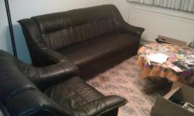 Schwarze Leder Couch - Sofa 3-Sitzer & Sessel - TOP Zustand