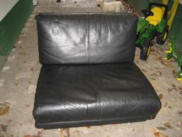 Foto 2 Schwarze moderne und zeitlose Leder Garnitur/ Sofa mit zwei Sessel