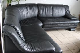 Schwarzes Ledersofa / große Eckcouch / Couchgarnitur - groß & bequem