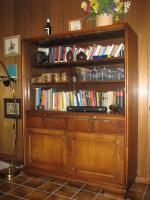 Sekreträrschrank + Vitrinenschrank, eichedunkel, B120/ H160/ T45 cm