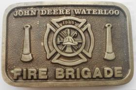 Seltene John Deere Waterloo Gürtelschnalle Buckle Fire Brigade