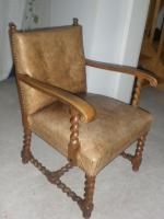 Sessel, antik, lederbezogen, handarbeit
