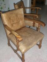 Foto 2 Sessel, antik, lederbezogen, handarbeit