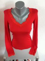 Sexy Langarm - Shirt mit V-Ausschnitt und Spitze Gr: 34 / 36 / 38