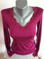 Foto 3 Sexy Langarm - Shirt mit V-Ausschnitt und Spitze Gr: 34 / 36 / 38
