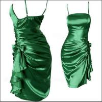 Sexy Satin Abendkleid Gr 42 smaragdgrün kurz NEU