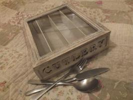 Shabby Chic Besteckkasten Box Holz