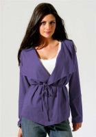 Shirtjacke mit Gürtel - in der schönen Farbe Lila - versch. Größen verfügbar - 100% Bio-Baumwolle