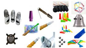 Shisha-set Hygienemundstücke, Kohlebehälter, Ventilkugel, silikon, sieb, zange, etc