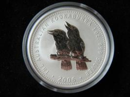 Silber Münze 1 Dollar Kookaburra Vogel Australien 2006