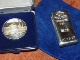 Silberbarren und Münze Degussa  999 Feinsilber