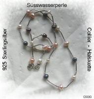 Silberschmuck, elegantes, extravagantes Süsswasserperlencollier