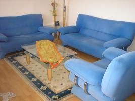 Sitzgruppe - 3 und 2 Sitzer Couch und Sessel in Blau