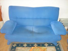 Foto 3 Sitzgruppe - 3 und 2 Sitzer Couch und Sessel in Blau