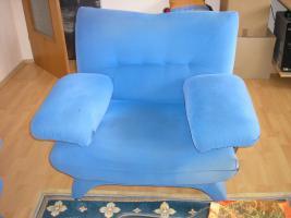Foto 4 Sitzgruppe - 3 und 2 Sitzer Couch und Sessel in Blau