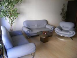 Sitzgruppe, Kunstleder, blau