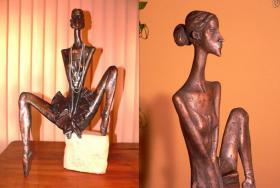 Skulptur Tänzerin Ballerina Bronze 74cm ausdrucksstark künstlerisch