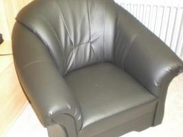 Foto 3 Sofa 1,2,3, Lederimitat schwarz