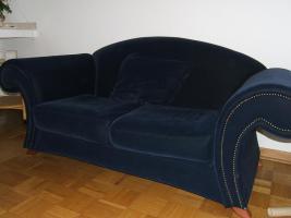 Foto 2 Sofa Couch 2 Zweisitzer 2 Dreisitzer dunkelblau in 41063 auch getrennt