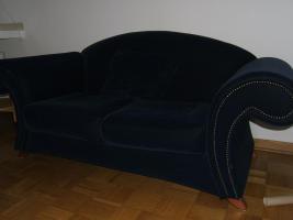 Foto 3 Sofa Couch 2 Zweisitzer 2 Dreisitzer dunkelblau in 41063 auch getrennt