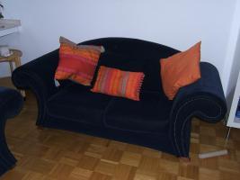 Foto 6 Sofa Couch 2 Zweisitzer 2 Dreisitzer dunkelblau in 41063 auch getrennt