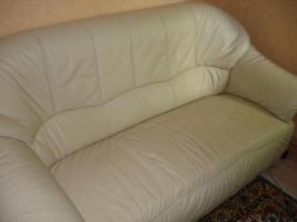 Sofa-Garnitur 3er,2er und 1 Sessel , ECHT-LEDER, Champagne