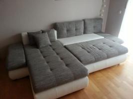Sofa Neu Schlaffunktion Grau Weiß Kunsteder Stoff