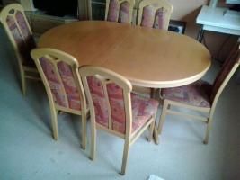 Foto 2 Sofa Rundecke mit passender Wohnwand und Tisch mit 6 Stühlen (auch einzeln abzugeben)