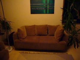 Sofa hellbraun Cord 2-Sitzer