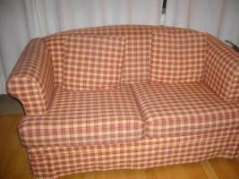 Sofa, 2Sitzer, IKEA, rot gelb kariert, 30�