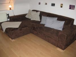 Sofa / Couch - Velourleder - braun - wie neu