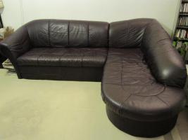 Sofa, Kunstleder, guter Zustand, bordeaux/dunkelrot/Schlaffunktion