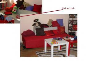 Sofa, beige, Kunstleder, zu verschenken!