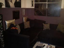 Sofa, schwarz, wie wildleder