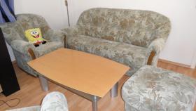 Sofagarnitur mit 2 Sessel und Fußhocker