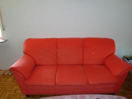 Sofagarnitur - lachsfarben - 3-Sitzer + 2-Sitzer - sehr gut erhalten