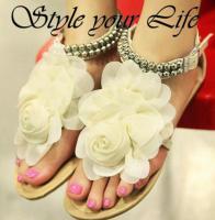 Sommer Sandalen mit Blume und Perlen