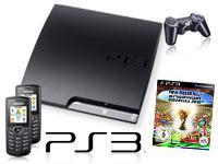 Sony PlayStation 3 Slim 120 GB mit Vertrag+FIFA Fussball Weltmeisterschaft 2010+2x Samsung E1170