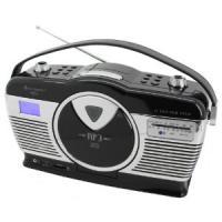 Soundmaster RCD1300S MW/UKW-Kofferradio mit Vertikal-CD-Spieler im Retro Design schwarz