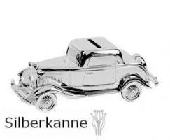 Spardose Auto Oldtimer 6x16 cm versilbert  SILBER Plated