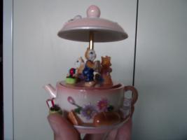 Spieluhr Teekanne mit Kätzchen spielt ''You are my sunshine''
