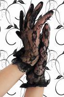 Spitzen-Handschuhe kurz schwarz Gr. OS - OVP - NEU
