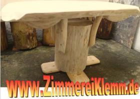 Stammtisch, Baumstammtisch, Holztisch massiv